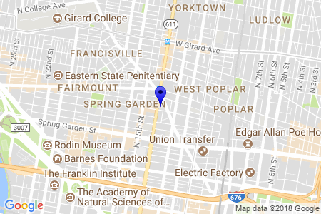 Google Map of 665 N Broad St Philadelphia PA 19123